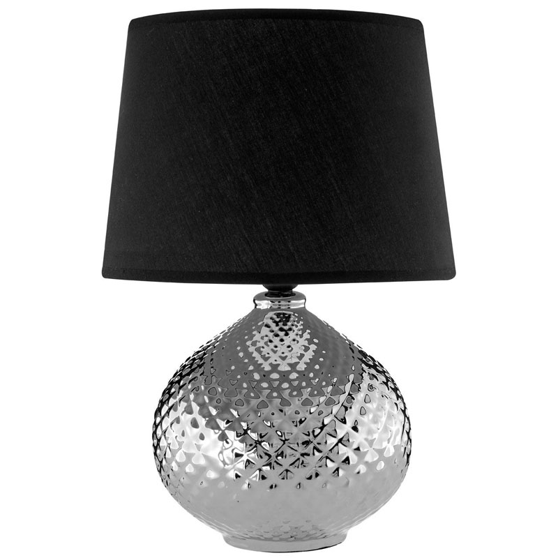 Hetty Table Lamp Silver Ceramic With Black Tapered Shade
