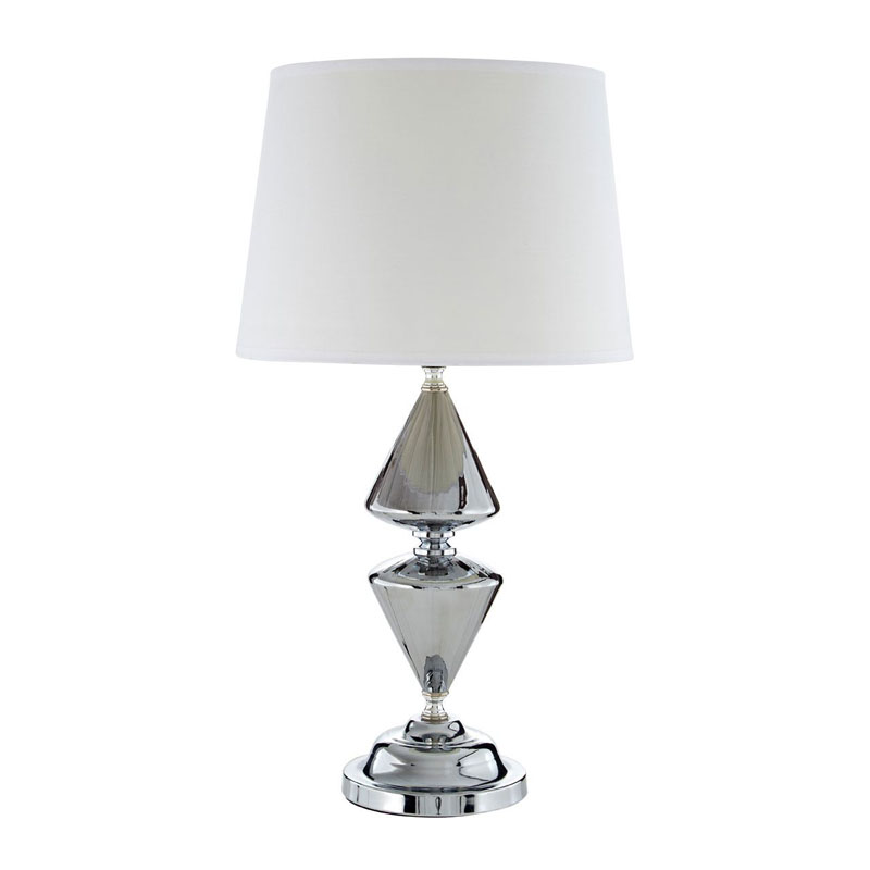 Honor Silver Glass Metal Table Lamp 52cm With White Shade