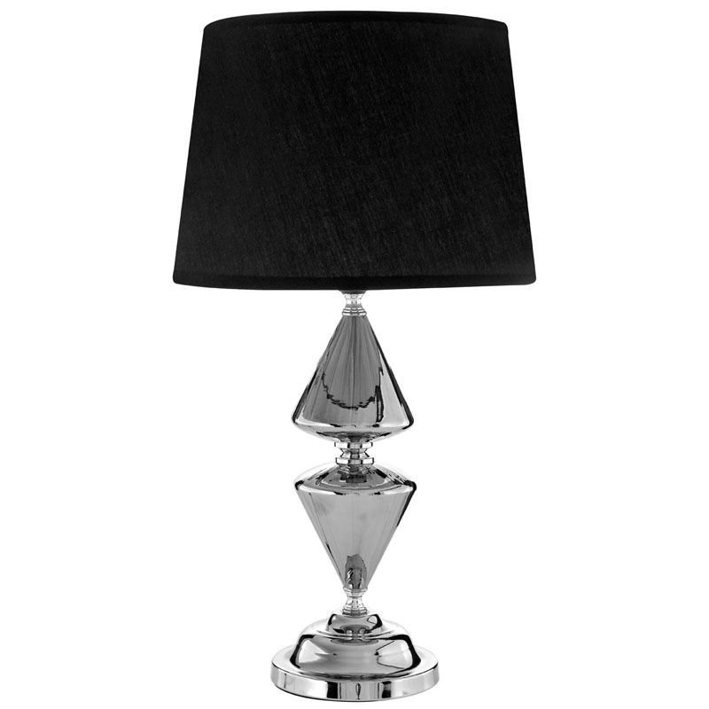Honor Silver Metal Glass Table Lamp 52cm And Black Shade