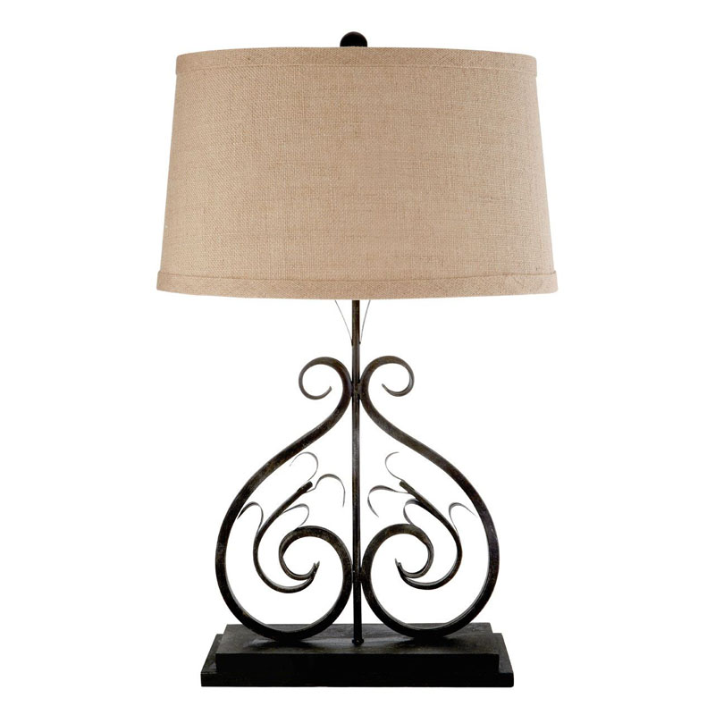 Portia Metal Table Lamp With Natural Fabric Shade