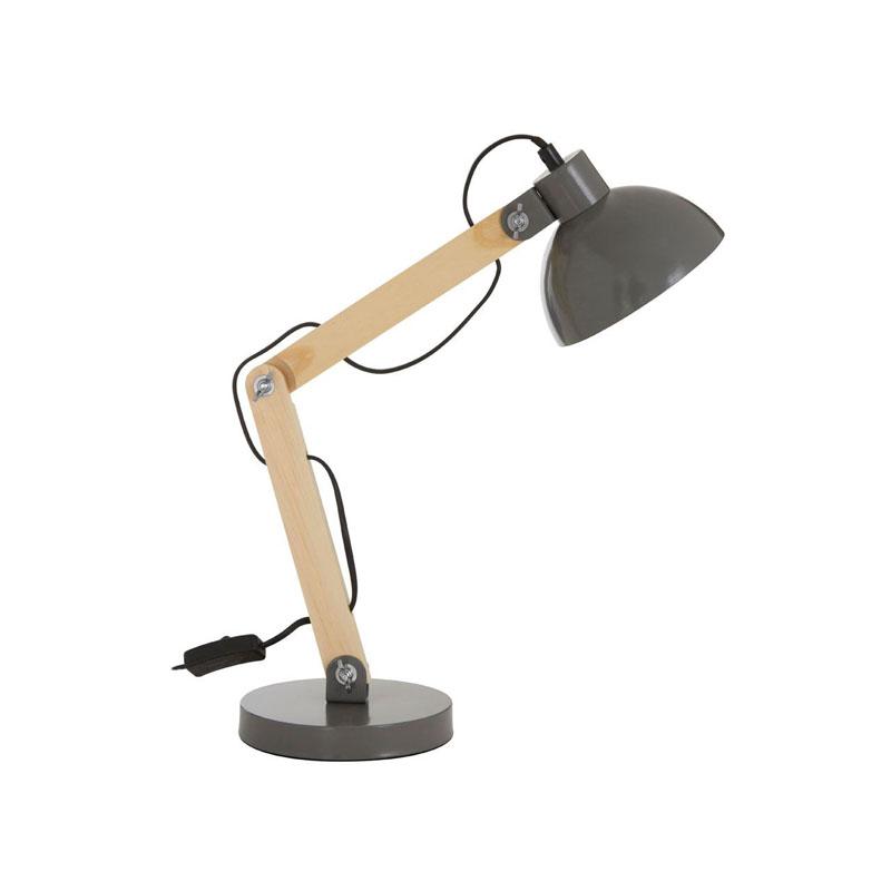 Blake Grey Metal & Wood Table Lamp