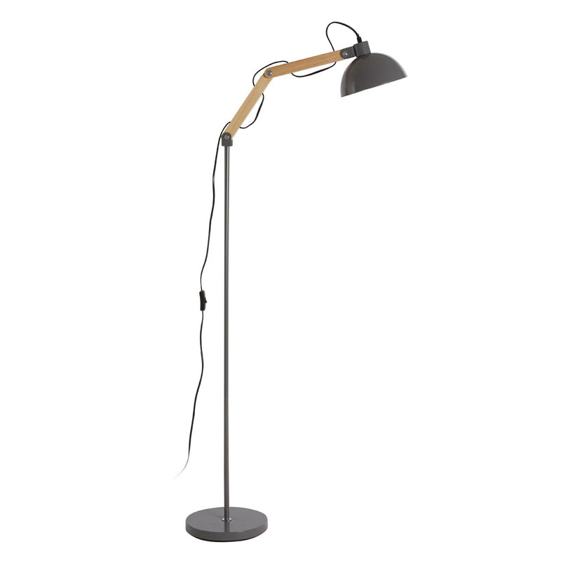 Blair Floor Lamp, Wood / Metal, Grey