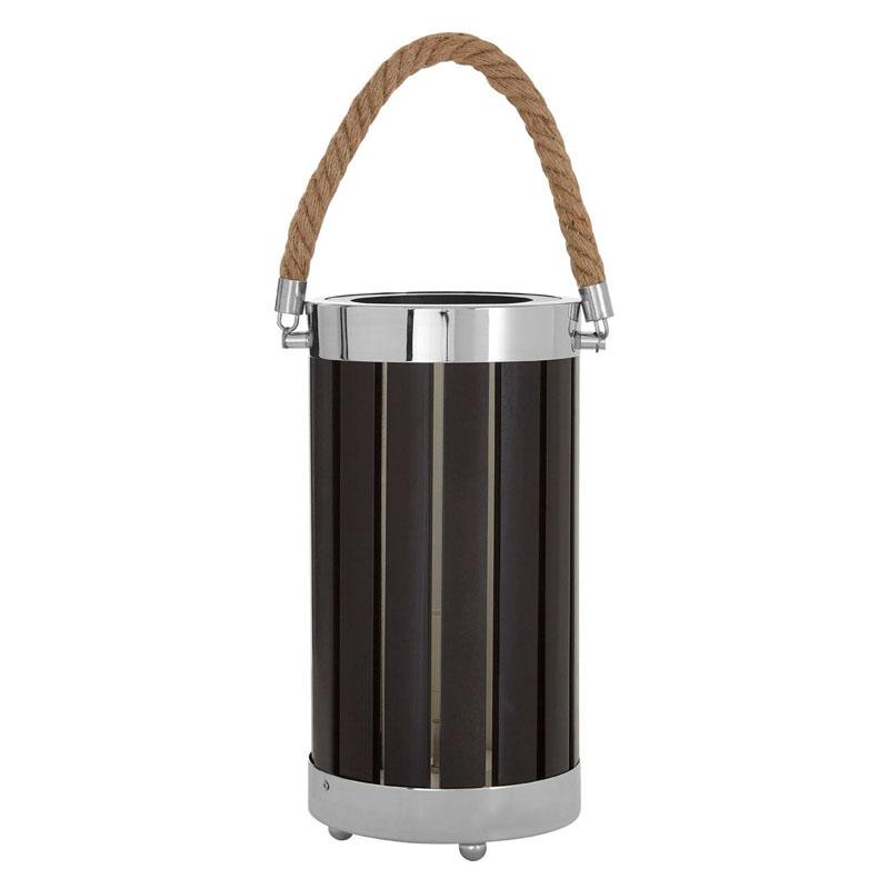 Brooke Black Lantern Wood/ Metal Table Lamp With Rope Handle