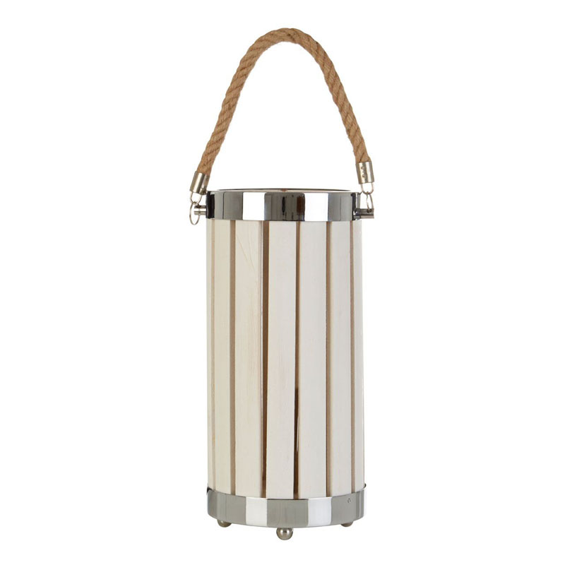 Brooke White Lantern Wood/ Metal Table Lamp With Rope Handle