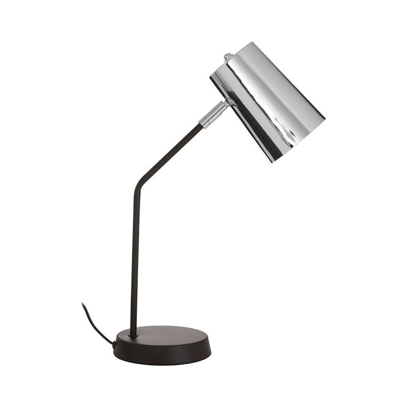 Bart Black Metal Table Lamp And Chrome Shade