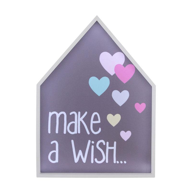 Led Light Box, Make A Wish, Mdf / Ps - Polystyrene