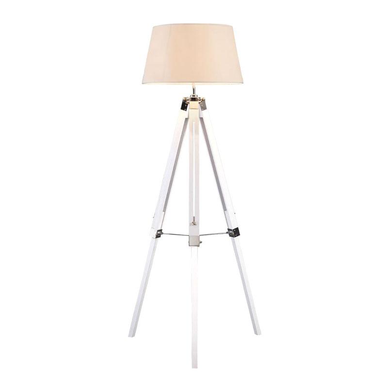 Bailey Floor Lamp, White / Tripod