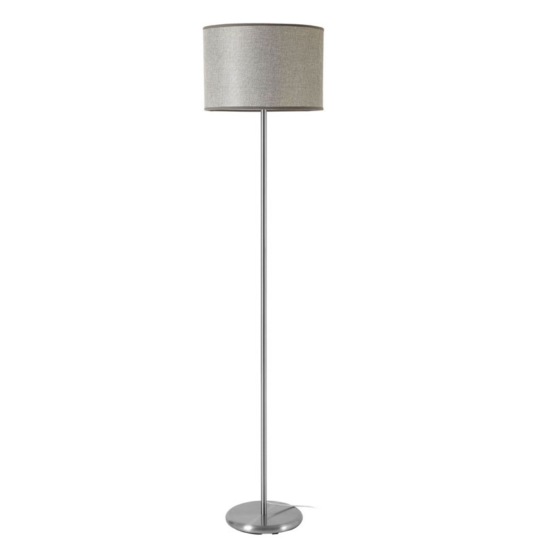 Forma Floor Lamp, Chrome Effect, Grey Waffle Effect Shade