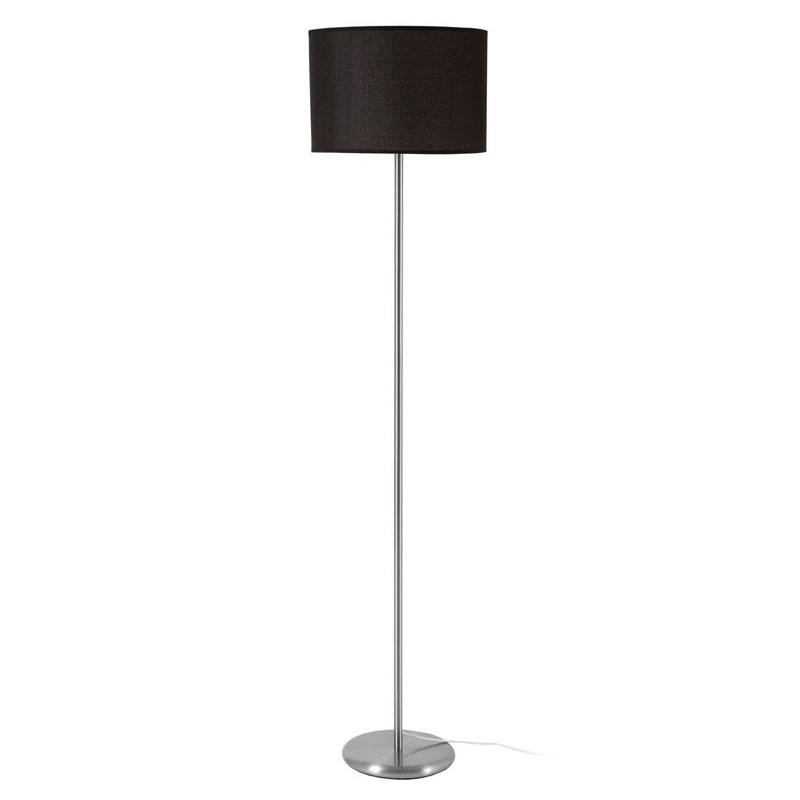 Forma Floor Lamp, Chrome Effect, Black Waffle Effect Shade