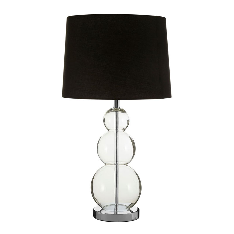 Luke Glass Ball Table Lamp & Metal Base With Black Fabric Shade
