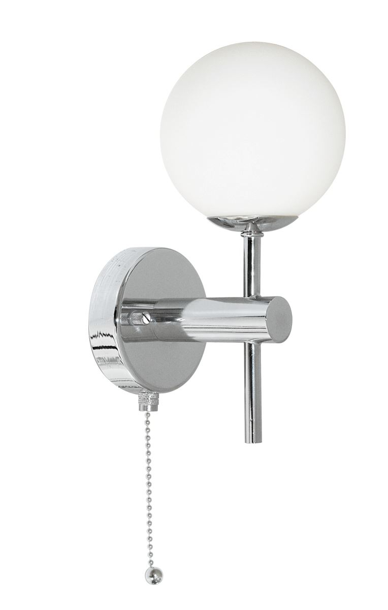 Globe Ip44 Chrome Wall Light With Opal Glass Shades