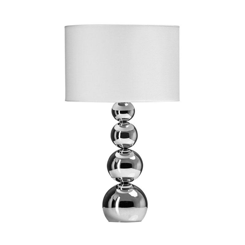 Cameo Touch Lamp, 4 Graduated Chrome Effect Orbs, White Shade / Eu Plug