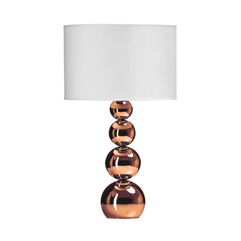 Cameo Touch Lamp, 4 Graduated Copper Effect Orbs, White Shade / Eu Plug