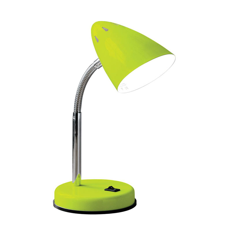 Flexi Desk Lamp (Eu Plug), Lime Green Metal, Chrome