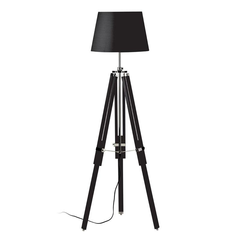 Tripod Floor Lamp, Black Wood / Chrome, Black Fabric Shade