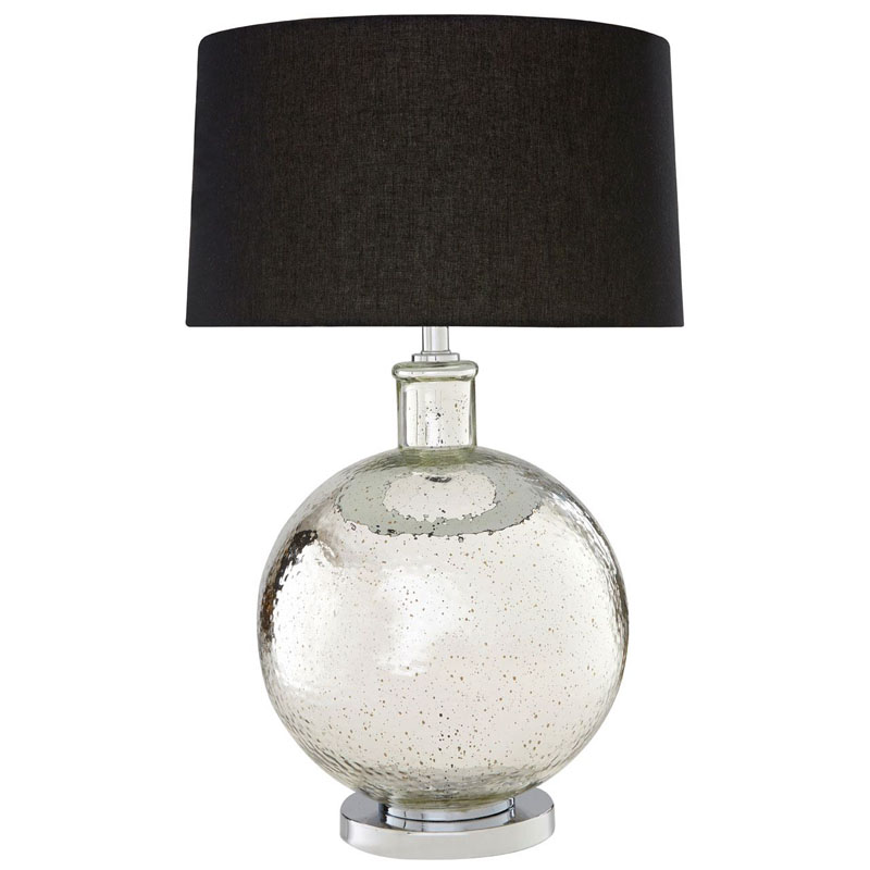 Aysel Silver Glass Table Lamp,Chrome Base & Black Linen Shade (Eu Plug)