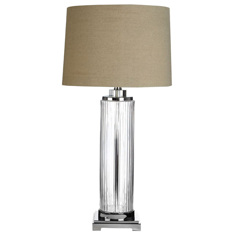 Alona Table Lamp (Eu Plug), Clear Glass Crystal Accent / Metal, Stone Linen Shade