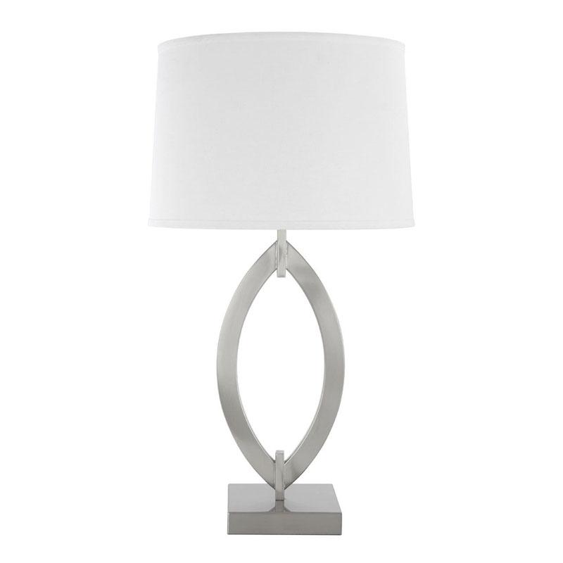 Lina Satin Nickel Table Lamp With Fabric Shade (Eu Plug)