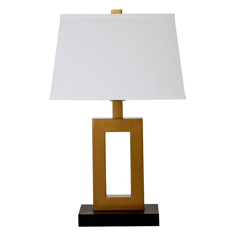 Leora Bronze Effect Metal Table Lamp With White Fabric Shade (EU Plug)