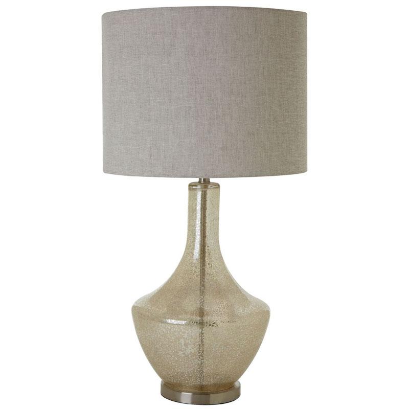 Luca Champange Glass Table Lamp Metal Base With Natural Fabric Shade (Eu Plug)
