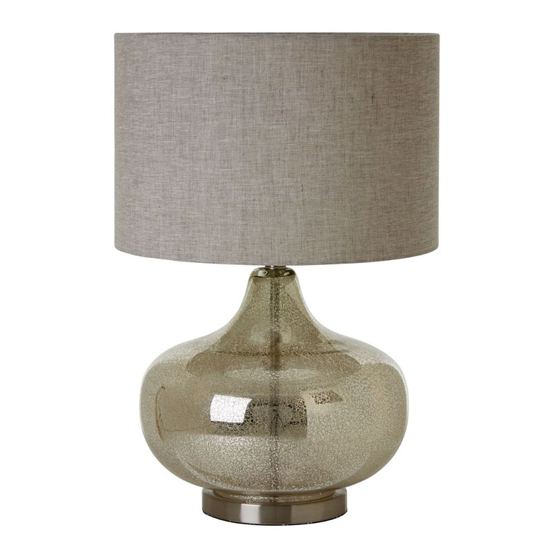 Luz Table Lamp (Eu Plug), Glass / Metal, Fabric Shade