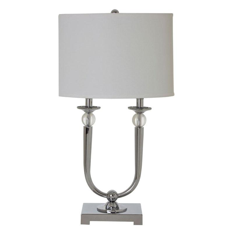 Lene Chrome Table Lamp With Fabric Shade (Eu Plug)