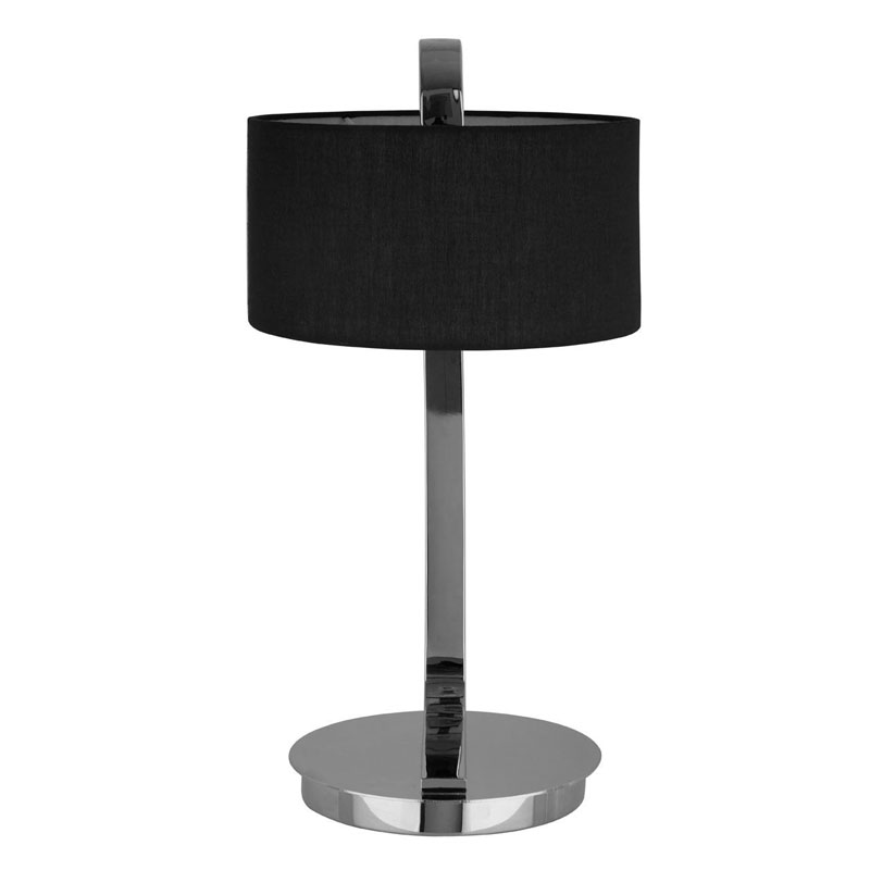 Leyna Silver Chrome Table Lamp With Black Fabric Shade