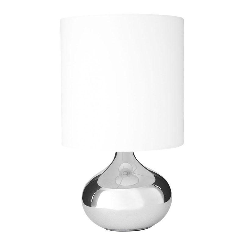 Niko Chrome Table Lamp With White Fabric Shade (Eu Plug)