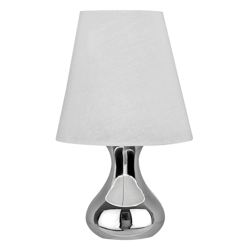Nell Silver Chrome Table Lamp With White Tapered Fabric Shade (Eu Plug)