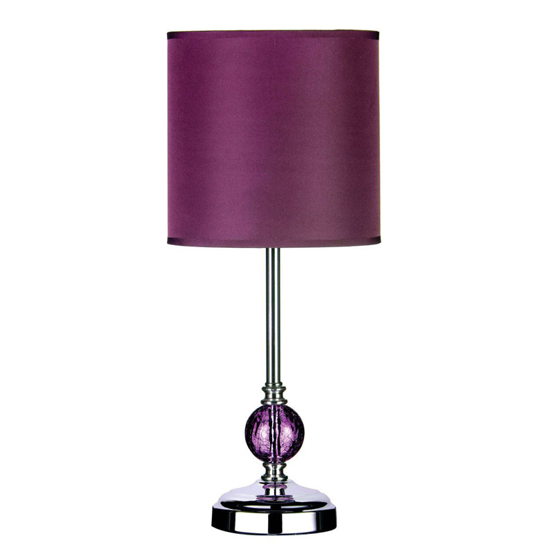 Chrome Table Lamp, Purple Glass Ball, Purple Shade / Eu Plug
