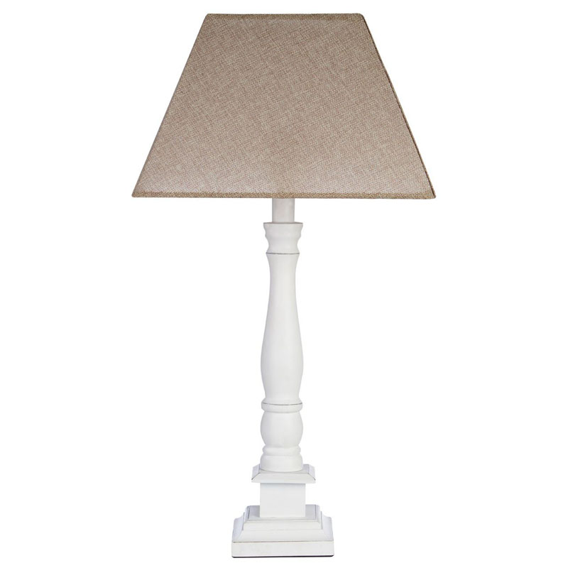 Maine White Wood Candlestick Design Table Lamp And Beige Empire Shade (Eu Plug)