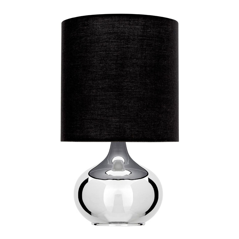Niko Silver Chrome Table Lamp With Black Fabric Shade (Eu Plug)