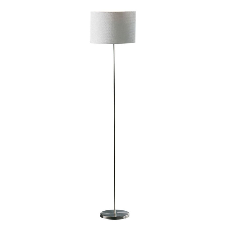 Forma Floor Standard Lamp, Cream Waffle Effect Shade, Chrome Effect / Eu Plug