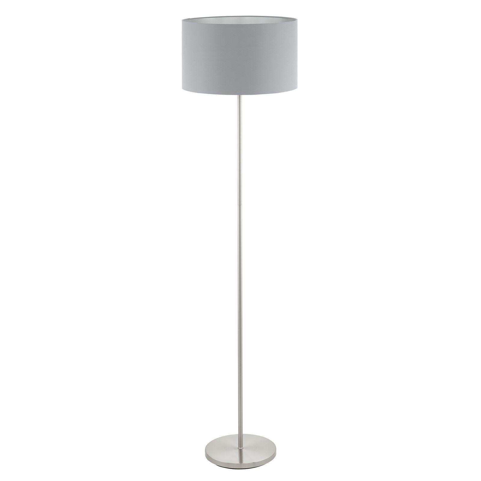 Maserlo Steel Satin Nickel Floor Lamp 1 Light With Grey-Silver Shade