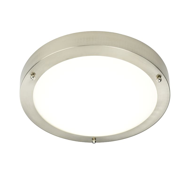 Portico Led Ip44 9W Natural White Flush Light Satin Nickel Plate