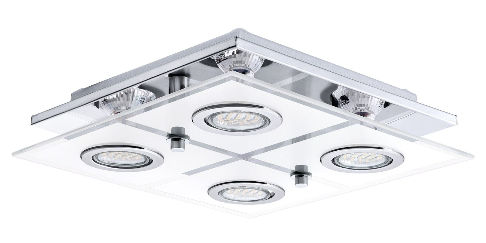 Cabo LED Ceiling Light 4x 3W Stainless Steel Chrome White Clear