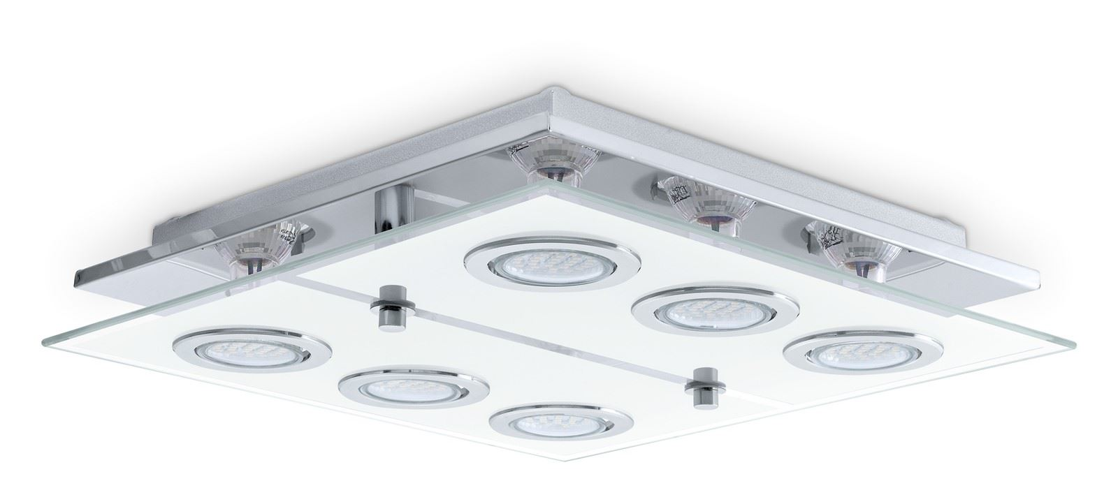 Cabo Led Ceiling Light 6X 3W Stainless Steel Chrome White Clear