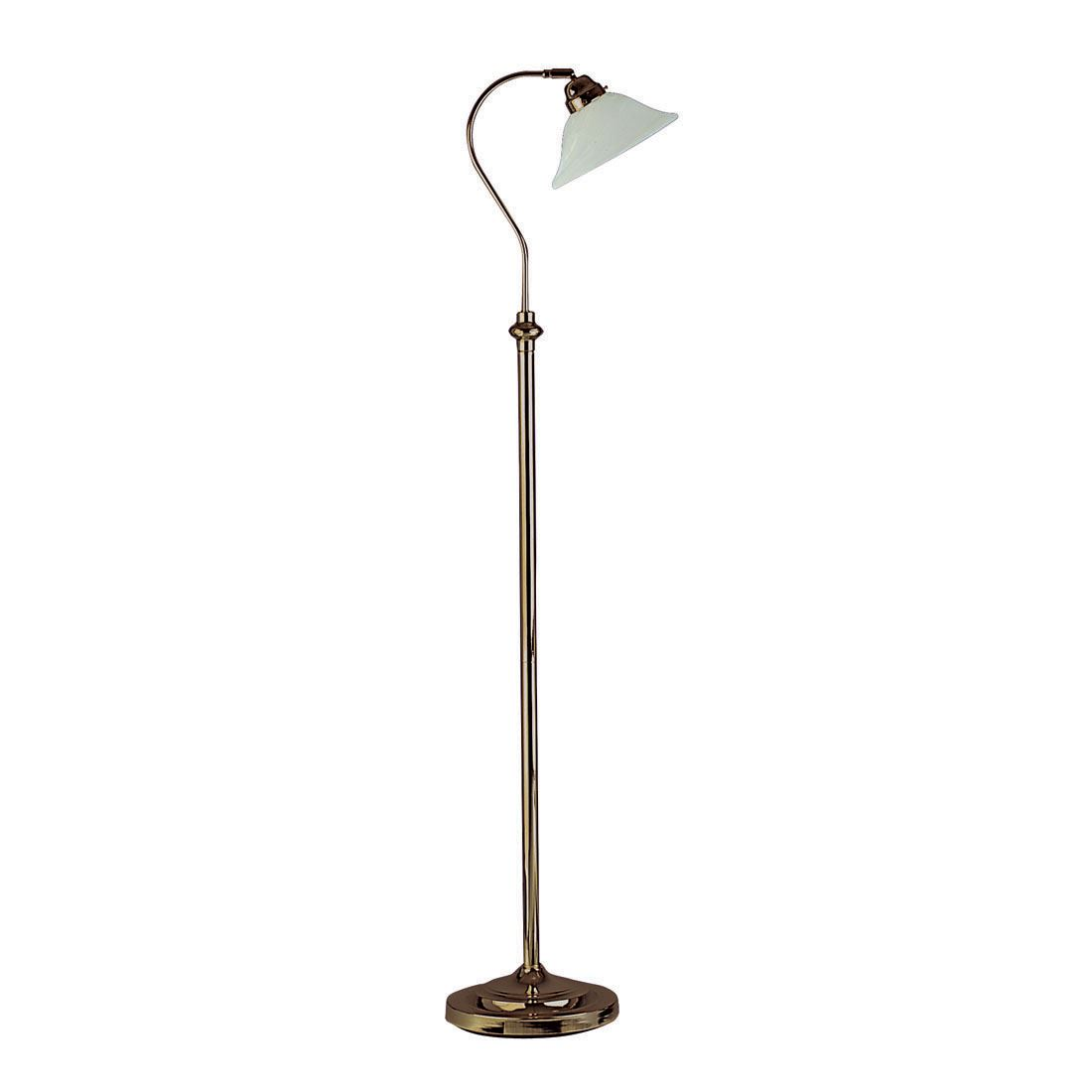 Adjustable Floor Lamp - Antique Brass Complete With Scavo Glass
