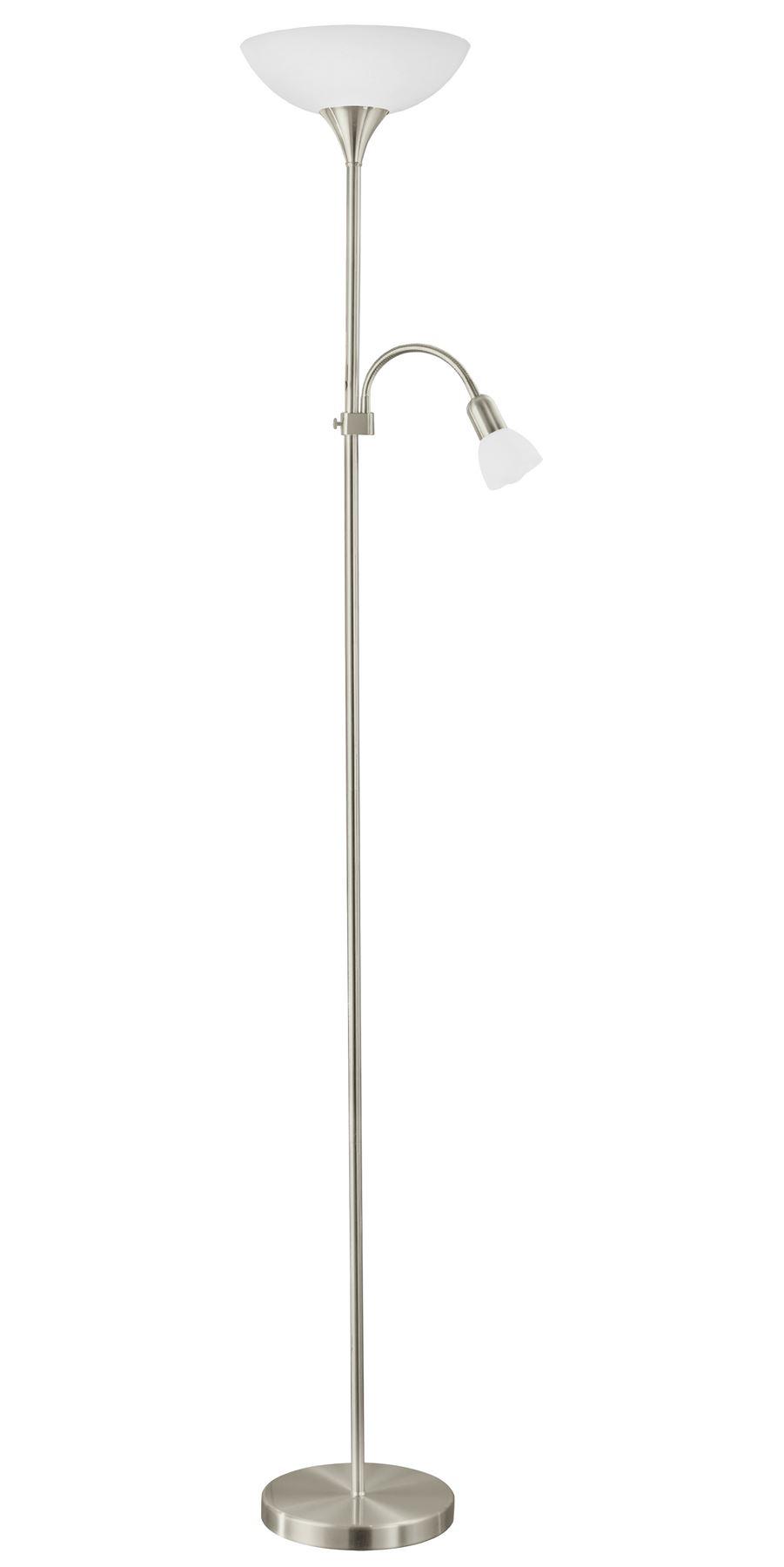 Up Stylish Floor Lamp Nickel-Matt Lamp Steel Plastic Glass White Shade