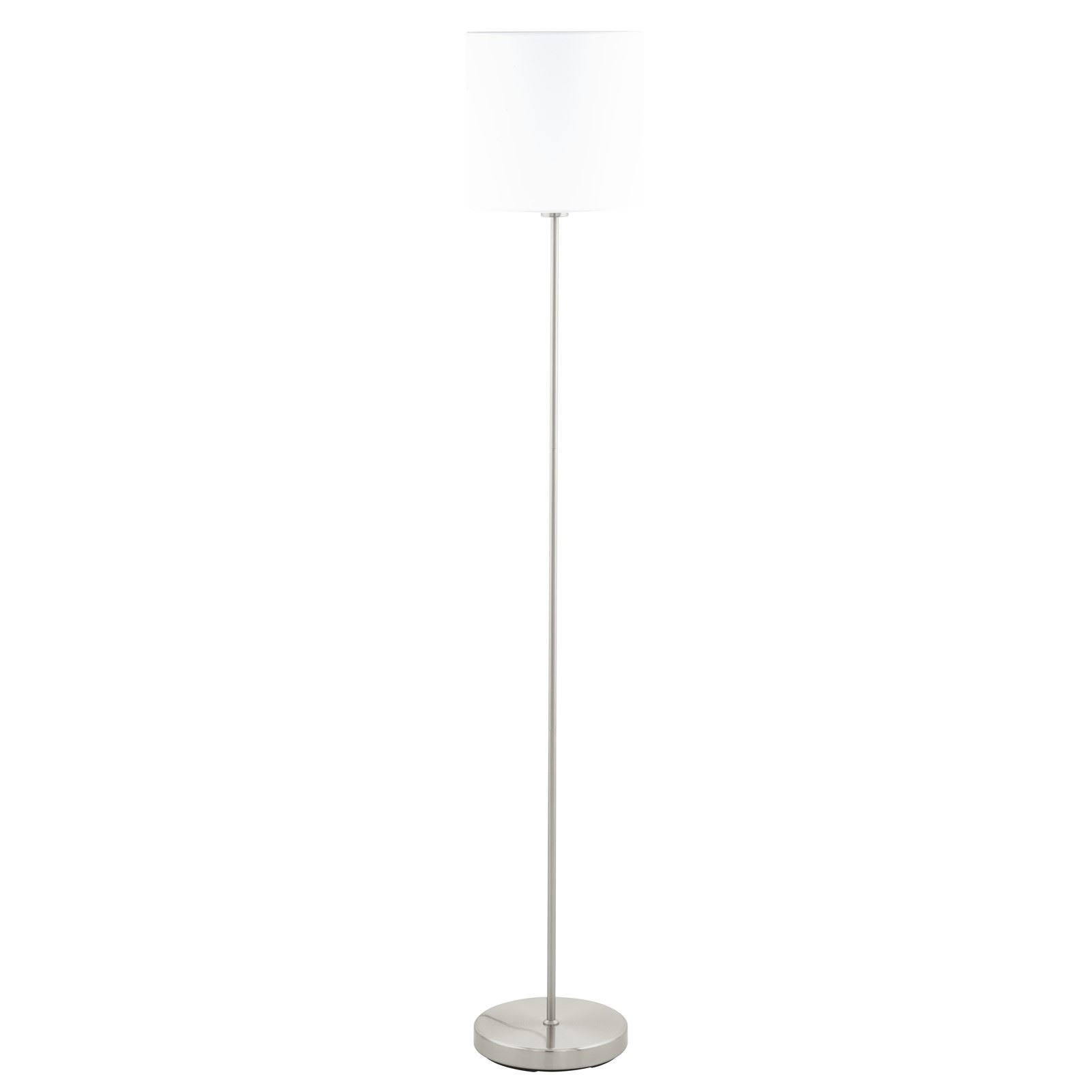 Pasteri Satin Nickel Floor Lamp White Shade With Foot-Switch