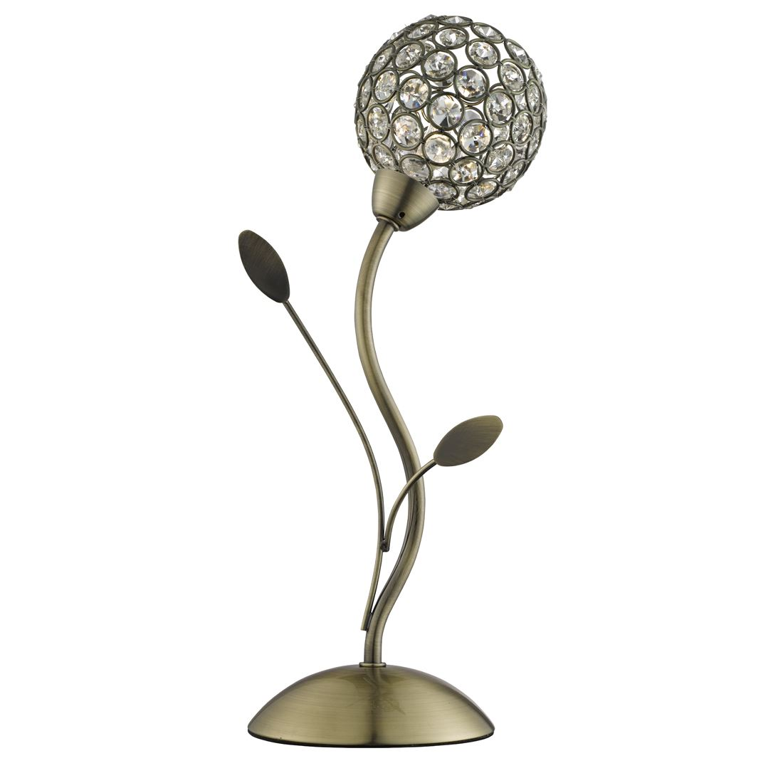 Bellis Ii - 1 Light Table Lamp, Antique Brass With Clear Glass Deco Shade
