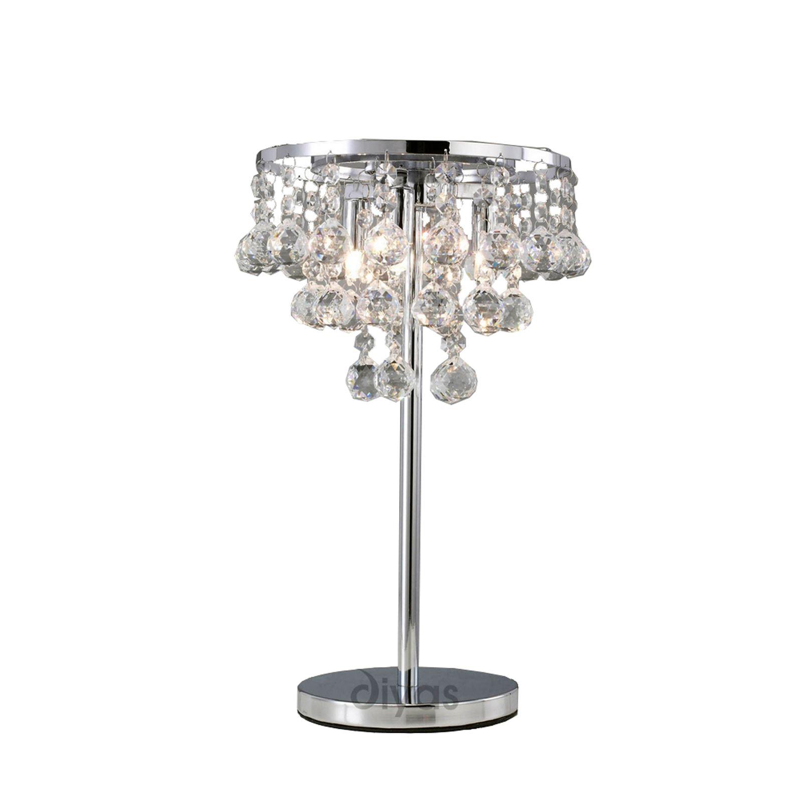 Decorative Table Lamp 3 Light Polished Chrome/Crystal Modern Design
