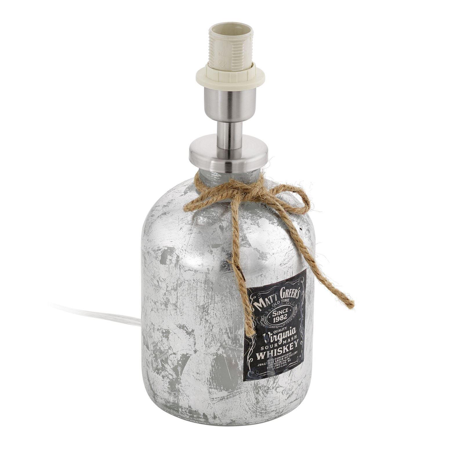 Mojada Table Lamp 1 Light E27 Whiskey Silver Glass Bottle