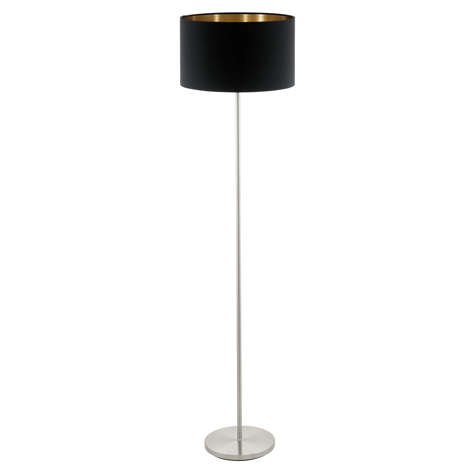 Pasteri Satin Nickel Floor Lamp With Black Copper Shade Foot-Switch