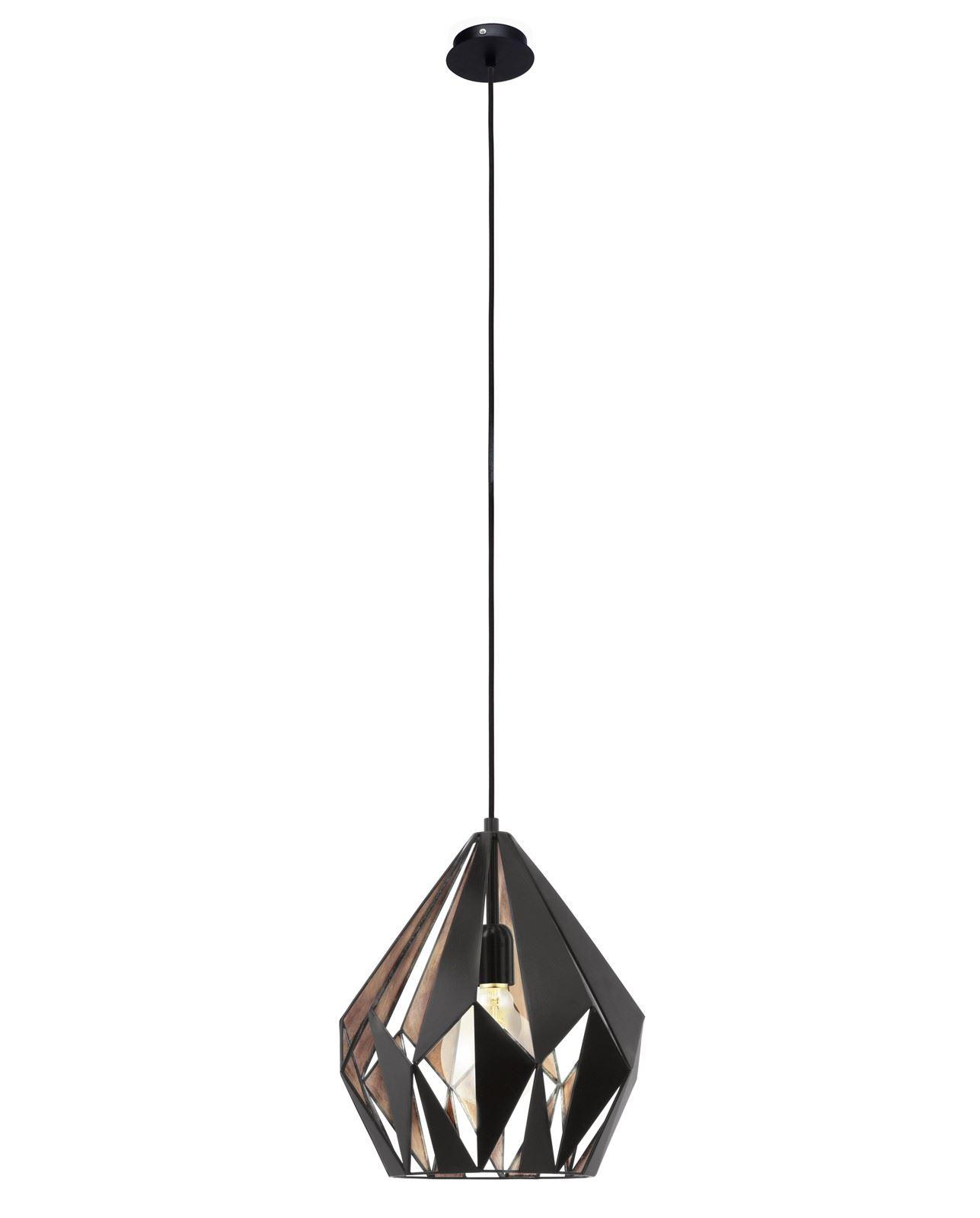 Carlton Hanging Light 1 Light E27 Black Copper