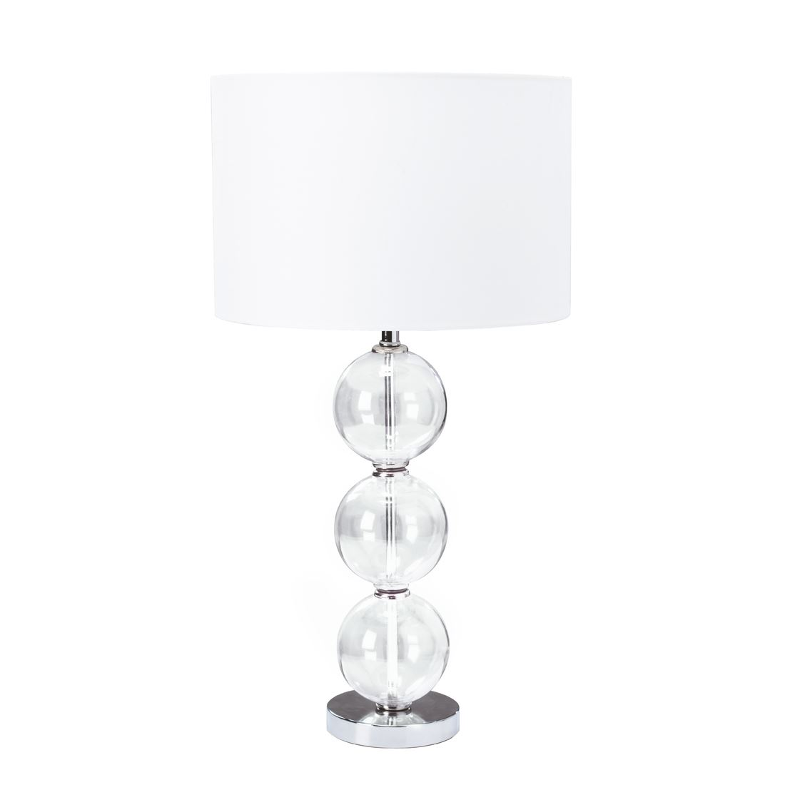 Floor Lamp (Single) - Clear Glass Ball Stacked Base, White Shade