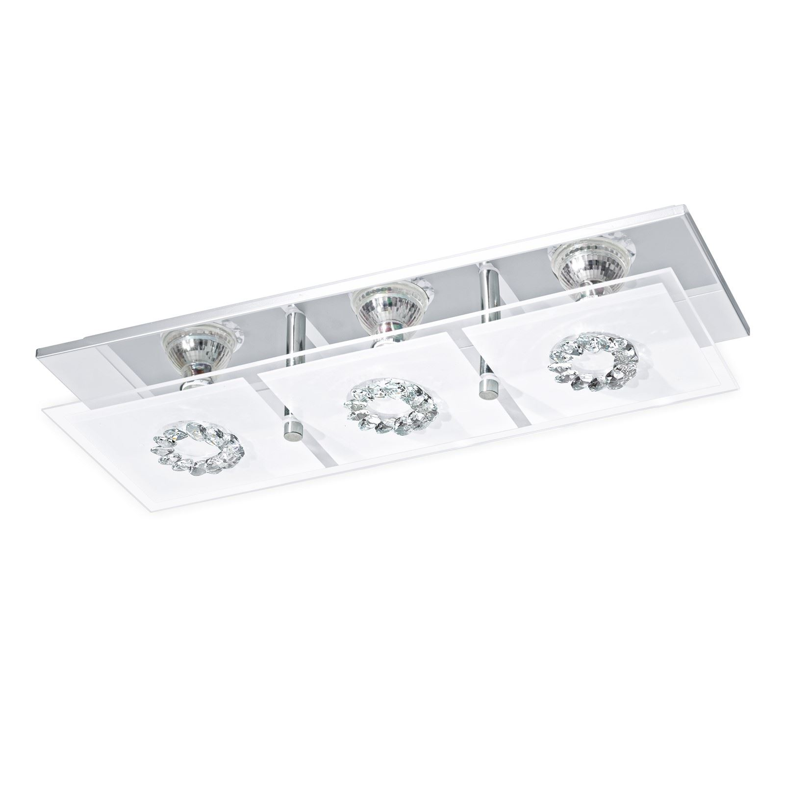 Roncato LED Wall/Ceiling Light 3x 3W Stainless Steel Chrome Clear Satin