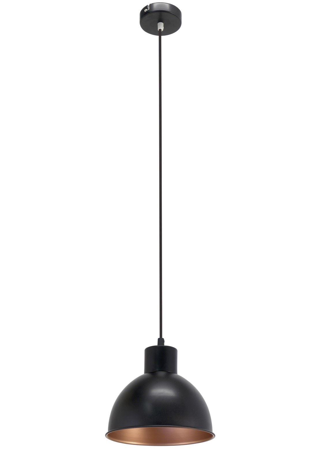 Truro Hanging Pendant Light E27 Steel Black Copper 210 mm Ø