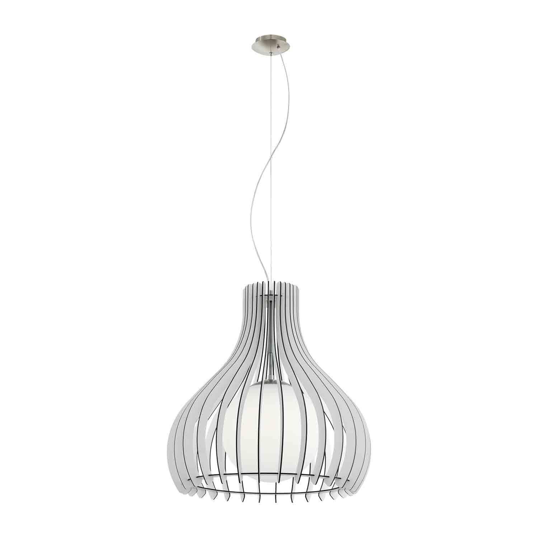 Tindori Satin Nickel Pendant Hanging Light Dia 500mm Wood Glass White