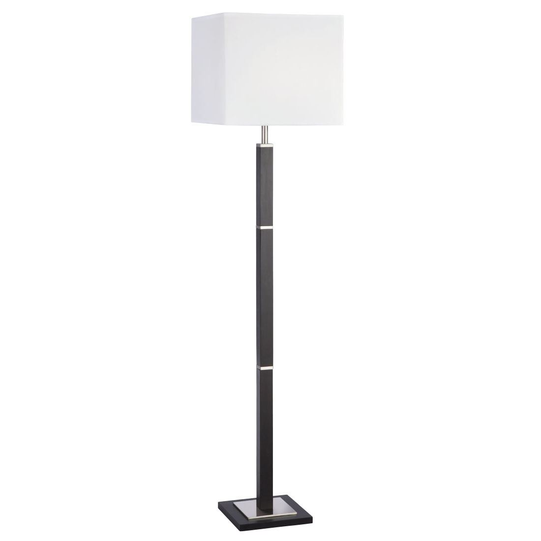 Waverley Table & Floor Lamp 1 Light Brown Wood/Satin Silver Rectangular